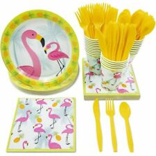 24 Dinnerware Set Flamingo Tropical Party Supplies for Birthday Summer Parties