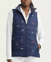 NWT POLO RALPH LAUREN Women Jacket Quilt Vest Duck Down Reversible Blue S M L