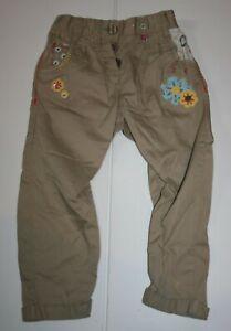 Used Next UK Girls 98cm 2 3 yr Brown Khaki Pants Applique Flowers Stylish Bottom
