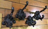 Set of 4 Ornate COAT Hat Wall HOOKS 4-1/2 rustic cast iron Antique Vintage style