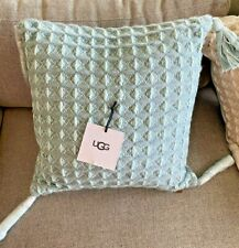 UGG AUSTRALIA WINDOWPANE STONE PLAID 100 WOOL BUTTON 20x20 FRINGE PILLOW-$125+
