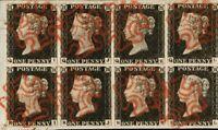 GB 1840,Penny Black Scarlet-Vermilion Maltese Cross. Block of 8,£120,000.00,Copy