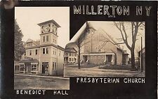 c.1910 RPPC Benedict Hall Drug Store & Presbyterian Church Millerton NY Dutchess