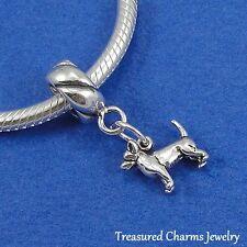 .925 Sterling Silver Chihuahua Dog Dangle Bead Charm fits European Bracelet