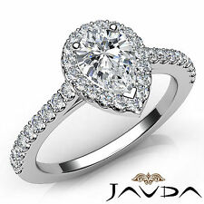 Pear Cut Shared Prong Set Diamond Anniversary Ring GIA H Color VVS2 Platinum 1Ct