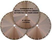 Diamant-Trennscheibe Diamantscheibe Ø 350 x 25,4 mm NORDMANN B12 Beton  3 STÜCK