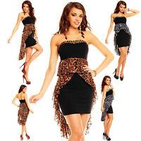 Top Womens Mini Dress Clubbing Ladies Leo Party Black Sexy Blouse Size 6 8 10 12