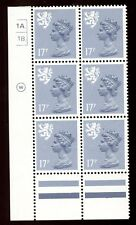 GB QE2 Machin Scotland 17p grey-blue Waddington 1A1B dot cylinder block UMNH **