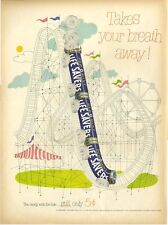 1952 LifeSavers Pep O Mint Roller coaster fun childrens decor PRINT AD