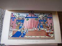 Medieval Illuminated Manuscript Froissart Church Bible Psalter Lithograph Color