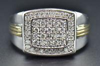 Diamond Wedding Band 14K White Gold Round Cut 0.77 Ct Men's Two Tone Ring