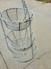 Vintage 3-Tier Hanging Aluminum Wire Basket - Fruit Storage Display Kitchen