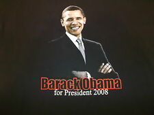 BARACK OBAMA FOR PRESIDENT '2008 T-SHIRT ADULT'S XL BLACK NWT