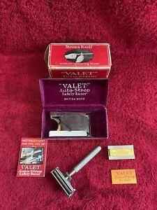 VINTAGE VALET AUTO STROP SAFETY RAZOR. ORIGINAL BOX AND SELECTION OF BLADES