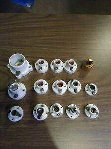 Vintage GE 75W125V Light Lamp Bulb Holder Socket Surface Mount porcelain lot 15
