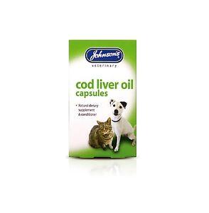 Johnson's Dog Cat Cod Liver Oil 40 Capsules Supplement Healthy Skin Coat Bones