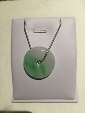 Chinese Style  Gift Vintage Green Burma Jade Necklace Sterling Silver (JP53)