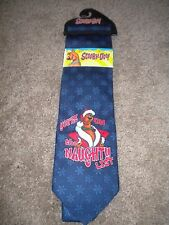 Scooby Doo navy snowflake holiday men's neck tie You're on Naughty List! NWT