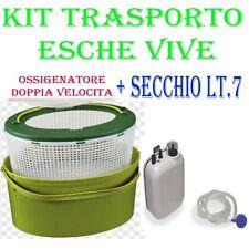 kit secchio vivo + ossigenatore a batteria pesca barca mare areatore traina