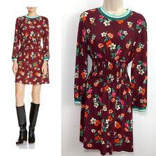Maje Women's Roskea Floral Smocked Mini Dress Long Sleeve Print 13646 Size 3 M/L