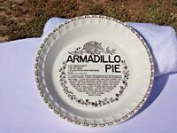 VINTAGE ARMADILLO PIE PLATE WITH RECIPE BY ROYAL CHINA COMPANY -- HARD TO FIND