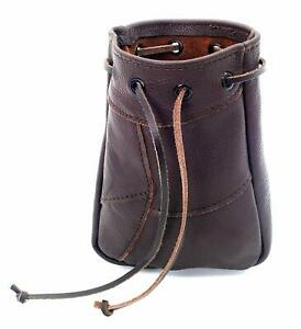 Mythrojan Real Leather Drawstring Coin, Wallet, Phone Pouch with Belt Loop Brown