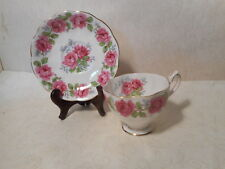 Queen Anne Bone China Teacup and Saucer   Pink Roses   LADY ALEXANDER ROSE