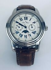 Lucien Piccard 27093BR Automatic Chronograph MoonPhase Silver Leather Band Watch