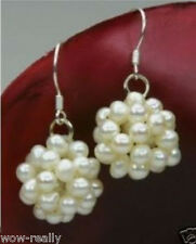Women Silver Hook Earrings Jewelry Beautiful White Pearl Ball Cluster