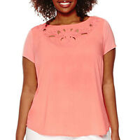 Liz Claiborne Women's Soft Cut out Coral Plus Size Top Blouse 3X