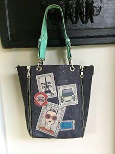 Barbara Rihl Leather Embossed Art Tote Shopper Bag Just Paris France Chic Travel