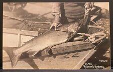 Real Photo RPPC Fishing On Redwood Highway~Big Steelhead Fish On Boat~Fisherman