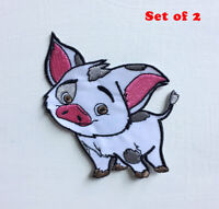 Pua Pig Cute Animal Art Badge Iron or sew on Embroidered Patch Set of 2