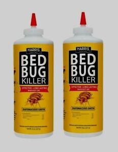 2 HARRIS HDE-8 BED BUG Diatomaceous Earth Powder Egg INSECT KILLER 8oz Pet Safe