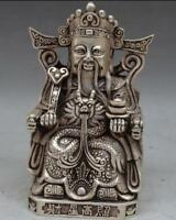 COLLECTIBLE DECORATED OLD HANDWORK TIBET SILVER God of wealth Statue