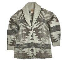 Woolrich Aztec Wool Cardigan Knit Sweater M Medium Beige Brown