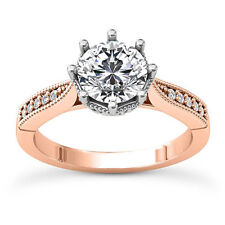 Solitaire 8 Prong .96 Carat SI1/D Round Diamond Engagement Ring 14K Rose Gold