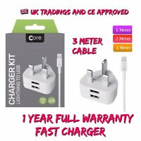 Fast Quick Charge Adapter UK Plug 2 port USB Hub Wall Charger For iPhone 8 X XR.