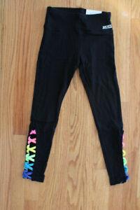 Justice Girls' Black Rainbow Lattice High Waist Active Leggings - Sizes 8, 10