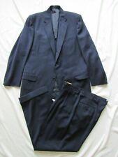 Vtg 50s 2 Pc Navy Blue Gabardine Gab Suit Jacket & Pant Hollywood VLV Drop Loop