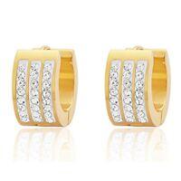 18k Gold Plated 3 Row 8 AAA Cubic Zirconia Stones Huggie Hoop Earrings 9mm