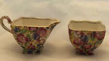 Royal Winton Grimwades Royalty Cream and Sugar Set Floral Chintz China England