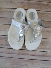 Skechers Tone Ups Relaxed Fit White Jeweled T Strap Sandals Womens Size 8