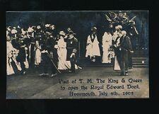 Gloucestershire Glos AVONMOUTH Dock Royal Visit KE7 1908 RP PPC