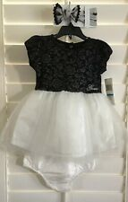 NWT GUESS Baby Girl 24M  Black Floral Velvt,Ivory TuTu,Bloomers Dress+Baby Bow