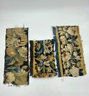 Antique Tapestry Fragments with Floral Motifs - (Set of 3)