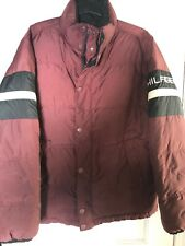 Tommy Hilfiger Adult XL Bomber Puffer Red Jacket Full Zip And Button Up RARE!