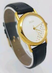 Zeon Ladies PVD Gold Case Black Leather Strap Wrist Watch A9