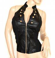 TOP NERO donna canotta sottogiacca maglietta eco pelle bustino sexy zip oro A30