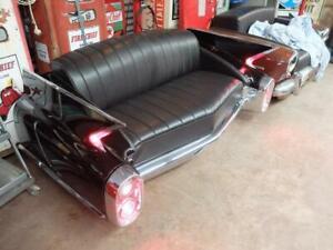 original Cadillac USA Autosofa Auto Couch 1960 Heckflosse schwarzes Echtleder